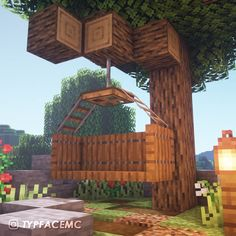 A cool way to make a swing! - Minecraft A cool way to make a swing! Craft Minecraft, Construction Minecraft, Cute Minecraft Houses, Minecraft Garden, Minecraft Mansion, Minecraft Houses Survival, Minecraft Houses Blueprints, Minecraft Decorations, Minecraft House Designs