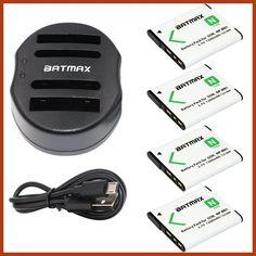 4-Pack NP-BN1 NPBN1 NP BN1 BN Battery&USB Dual Charger for SONY DSC TX9 T99 WX5 TX7 TX5 W390 W380 W350 W320 W360 QX100 W370