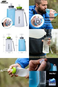 [Visit to Buy] 500 ml Portable Silicone Folding Water Bag Sport Camping Outdoor Cup Water Bags Drinkware With Straw Kettle Travel Bottles #Advertisement