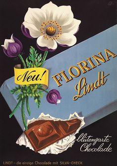 Emil Ebner 1954 vintage Lindt chocolate ad, Switzerland