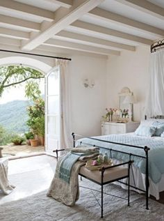 Beautiful and serene French farmhouse bedroom in Provence... This could also be a seaside cottage...