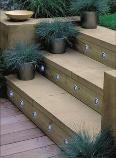 Maybe put lights on new back patio stairs when rebuild them this summer - Outdoor stairs