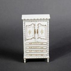 Details about  Dollhouse Miniature hand painted bedroom furniture Louis XV Chest Armoire