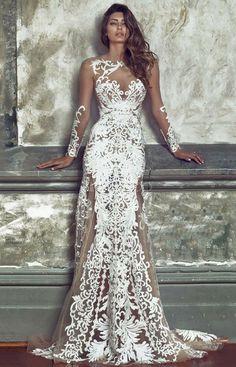 Gorgeous White Wedding Lace Maxi Dress - Long Sleeve Round Neck Semi Sheer Backless Jacquard Long Evening Cocktail Dresses For Women. NNT #maxidress #affiliate #weddingdress #whitedress #styleguide #fashioninspiration #eveningdresses