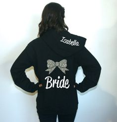 Set of 6 Bridesmaid hoodies with bow and by BrideAndEntourage