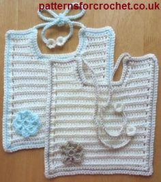 Free Baby Crochet Pattern for Tie bib from http://www.patternsforcrochet.co.uk/baby-tie-bib-usa.html #patternsforcrochet