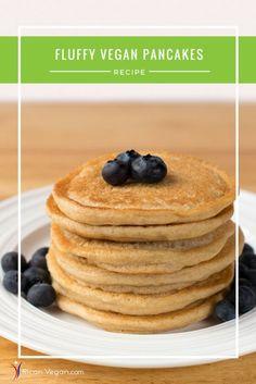 vegan fluffy pancakes | pancake recipe | vegan breakfast | pancakes from scratch | plant-based vegan vegetarian recipe