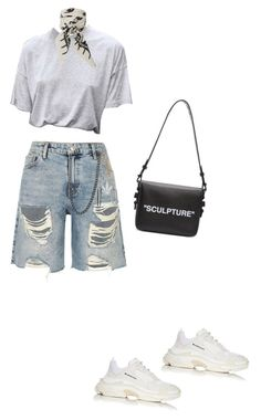 """""""sculpture"""" by briannamazzola ❤ liked on Polyvore featuring River Island, Palm Angels, Rockins, Balenciaga and Off-White"""