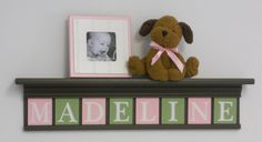 """Personalized Childern Nursery Decor 30"""" Shelf With 8 Letter Wooden Tiles Painted Brown, Light Green and Pink -"""