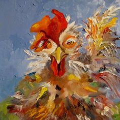 Spirit Rooster, painting by artist Delilah Smith. I love the texture on this one