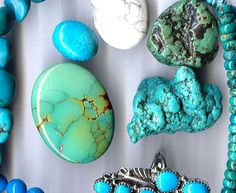 Turquoise is a beautiful copper-rich stone of varying shades of blue, occasionally interspersed with black lines. The color can vary from sky blue to green, but all shades seem to be popular.