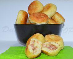 Krapfen salati ripieni di mortadella e scamorza affumicata αλμυρα ντονατς με λουκανικο κ φυλλο με πατατα