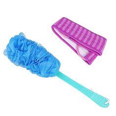 Miracle4ever Plastic Handle Massage BathingShower Brush and Twist Towel Set 2 Pcs BluePurple Set