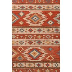 Canyon Kilim Woven Rug Take an Aztec-inspired print and update it in shades of cinnamon, sand, sky, and fieldstone -- that's our eye-catching new wool kilim area rug.