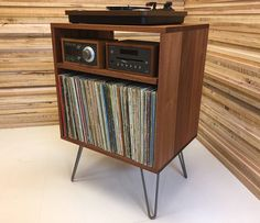 Micro mid century modern record player console, turntable, stereo cabinet with LP album storage. Avail in cherry, white oak or mahogany.