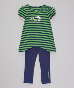 Loving this Green Stripe Sidetail Tunic & Leggings - Infant, Toddler & Girls on #zulily! #zulilyfinds