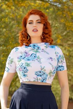 Joanna Short Sleeve Crop Top in Stretch Blue Rose Crepe   Pinup Girl Clothing