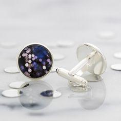 Bokeh cufflinks - striking cufflinks featuring a miniature photography print of out of focus lights