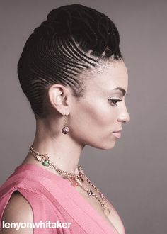 Cornrow hairstyle.