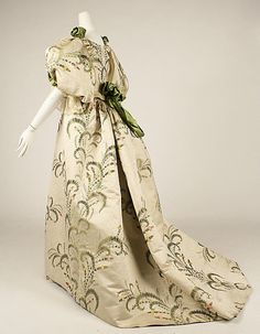 Dress (Ball Gown).  House of Worth(French, 1858–1956).  Designer: Charles Frederick Worth (French (born England), Bourne 1825–1895 Paris). Date: 1889. Culture: French. Medium: silk. Dimensions: Length at CB (a): 12 in. (30.5 cm). Length at CB (b): 54 in. (137.2 cm).