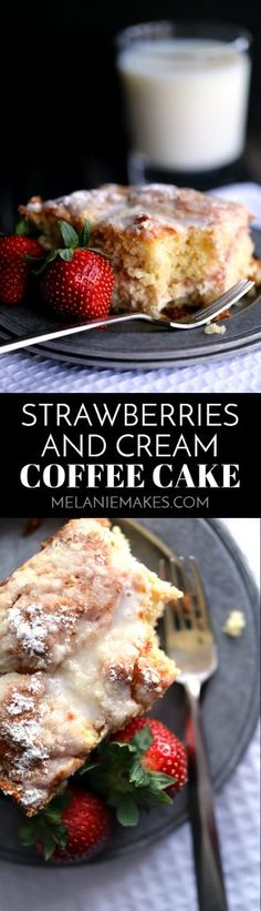 This Strawberries and Cream Coffee Cake will have your family rolling out of their beds and making a beeline for the kitchen in record time. A thick swirl of cream cheese and strawberry jam is sandwiched between two layers of light as air coffee cake. This breakfast treat is then topped with a sugar and butter topping before being baked and then drizzled with a powdered sugar glaze.  #strawberry #cream #coffeecake #breakfast #brunch