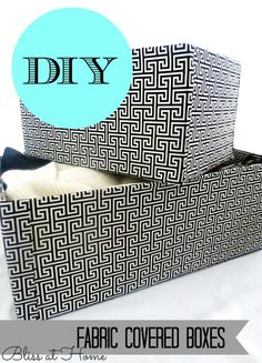 DIY Fabric Covered Boxes-- For Office! How to cover cardboard boxes with fabric for cute storage.