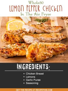 Air Fryer Recipes | Whole30 Lemon Pepper Chicken In The Air Fryer recipe from RecipeThis.com