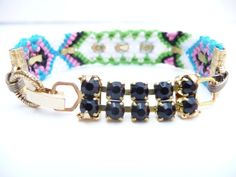 Gold Square Studded Friendship Bracelet