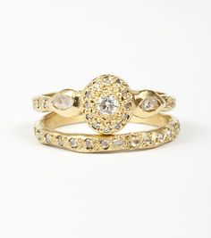Catbird engagement ring and wedding band