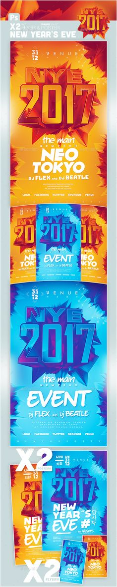 New Year NYE 2017 Flyer & Poster