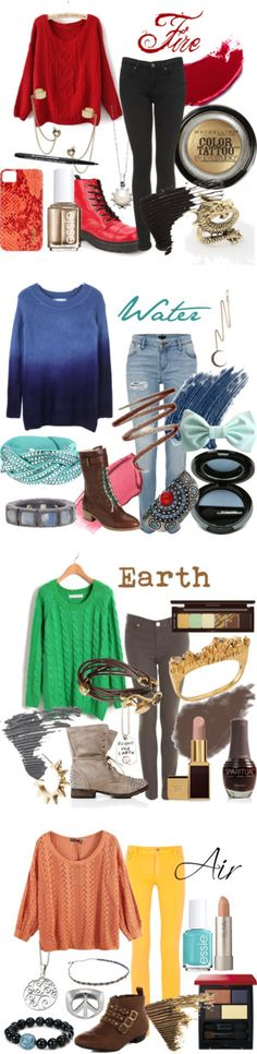 """The Four Elements"" by paigesinger on Polyvore. not disneybound, but still pretty cool"