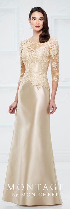 Formal Evening Gowns by Mon Cheri - Fall 2017 - Style No 217955 - champagne Mikado and lace trumpet evening gown with illusion lace three-quarter length sleeves