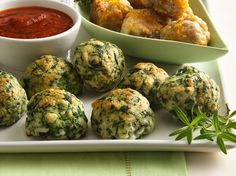 Spinach-Cheese Balls - super easy recipe. Serve with your favorite pasta sauce.