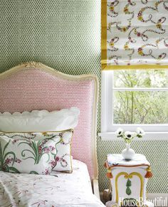 Green and Pink Girl's Bedroom #californiahomes