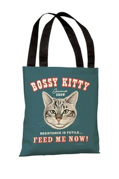 Bossy Kitty Polyester Tote Bag by Lightning E-Commerce on @HauteLook