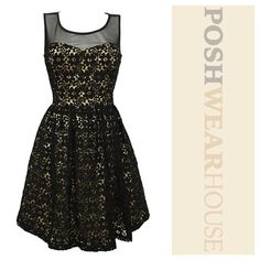 "Black & Gold Floral Lace A Line Party Dress Side inseam zipper • Sheer shoulders & back • Length 36"" • Bust 36""-38"" • Waist 28""-30"" • Hips up to 44"" • Sized 11, fits a MEDIUM • Cotton, Nylon, Spandex & Polyester.   Like what you see? Follow me! On PM @PoshWearHouse On IG www.instagram.com/PoshWearHouse On FB www.facebook.com/PoshWearhouse Inspire Me Dresses Midi"