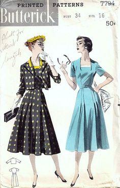 Butterick 7794 Misses 50's Dress, Jacket Sewing Pattern