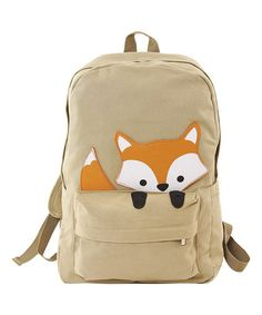 Another great find on #zulily! Beige Peeking Baby Fox Backpack #zulilyfinds