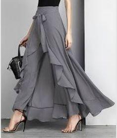 Reborn Collection Charcoal Chiffon High-Waist Ruffle Pants - Women office wear or wedding outfit Hijab Fashion, Fashion Dresses, Fashion Fashion, Dress Skirt, Dress Up, Dress Pants, Ruffle Pants, Chiffon Pants, Pants For Women