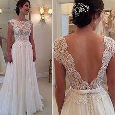 Elegant Lace Chiffon Beach Wedding Dress Sexy Open Back Bridal Gowns Custom Made