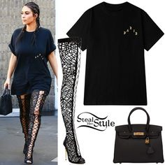 Kim Kardashian was spotted arriving at Epione in Beverly Hills wearing The Life of Pablo Paris T-Shirt (Not available online), a Hermes Birkin 30 Bag ($21,675.00) and Tom Ford Nappa Leather Lace-Up Over-The-Knee Boots (Sold Out). You can find similar boots for less at CiCiHot ($76.99).