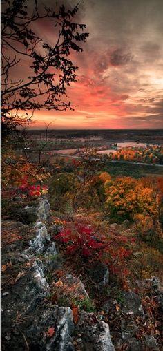 Autumn sunrise at Rattlesnake Point in Milton, Ontario, Canada