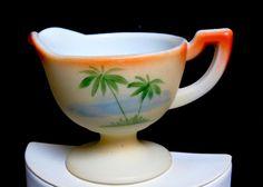 Antique RARE 1905 Westmoreland Almond Satin Milk Glass Palm Tree Footed Creamer #WestmorelandGlassCompany #WestmorelandPalmTreeTransferwareFootedCreamer