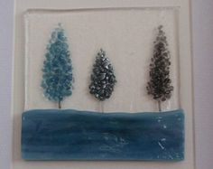 Steel blue/blue Trees Fused Glass Picture