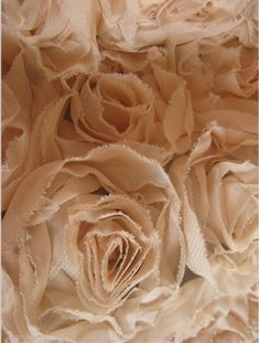 3D flower fabric - chiffon rosettes on mesh, fabric design; beautiful fabric manipulation; textiles surface creation
