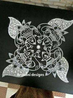 Un coloured muggulu for Sankranti Easy Rangoli Designs Videos, Rangoli Designs Flower, Rangoli Ideas, Rangoli Designs With Dots, Rangoli Designs Images, Rangoli With Dots, Beautiful Rangoli Designs, Simple Rangoli, Lotus Rangoli