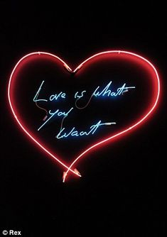 From wild Young British Artist to Royal Academician, Tracey Emin has evoked acclaim and controversy for nearly two decades. Britain's most provocative artist opens up to Britain's most controversial columnist. Custom Neon, Tracey Emin, Neon Words, Intimate Photos, Neon Glow, Art Design, Graphic Design, Hanging Art, Neon Lighting