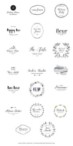 Miss Poppy Design / New Pre Designed Logo Collection / Photographer / Florist / Designer / Graphic Design / Wedding Planner: