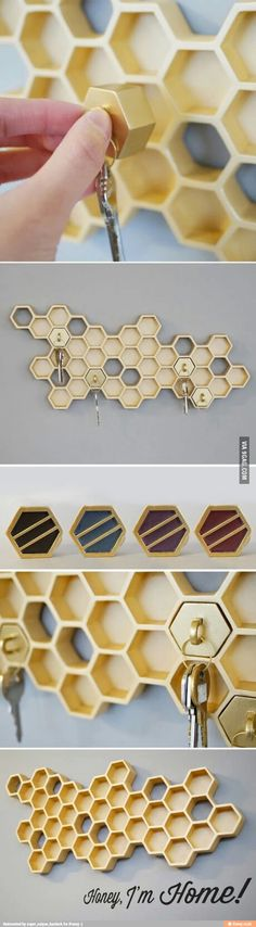 cool key holder honey bee nest design (Cool Gadgets Awesome Inventions) Do It Yourself Furniture, Key Rack, Take My Money, Deco Design, Cafe Design, Home And Deco, Sweet Home, New Homes, Room Decor