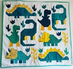 Children's Quilts, Girls Quilts, Elizabeth Hartman Quilts, Applique Quilt Patterns, Dinosaur Nursery, Quilted Gifts, Animal Quilts, Quilt Baby, Contemporary Quilts